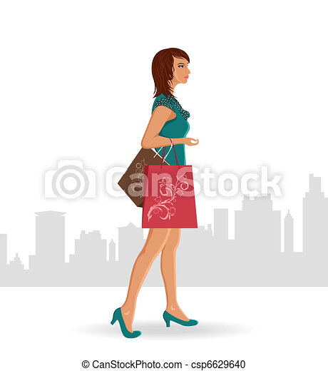 girl with purchases - csp6629640