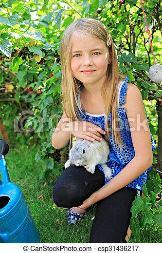 girl with rabbit - csp31436217