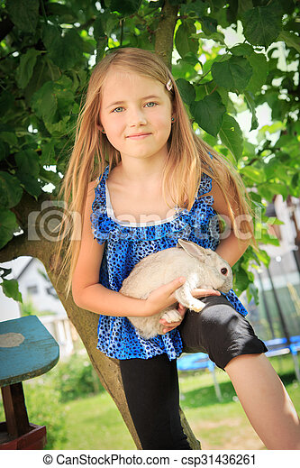 girl with rabbit - csp31436261