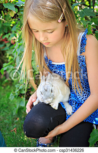 girl with rabbit - csp31436226