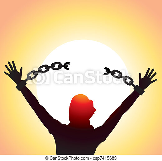 girl with raised hands and broken chains - csp7415683