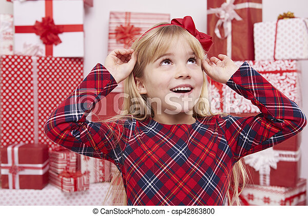 Girl with red bow - csp42863800
