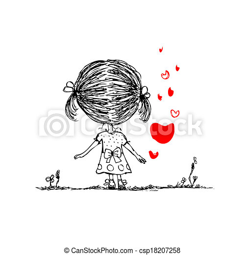 Girl With Red Heart Valentine Card Sketch For Your Design