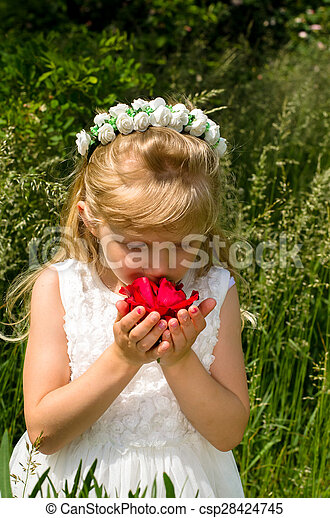 girl with red rose - csp28424745
