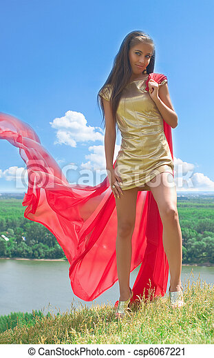 girl with red scarf against summer landscape - csp6067221