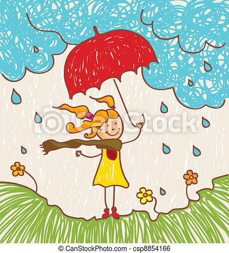 Girl with red umbrella - csp8854166