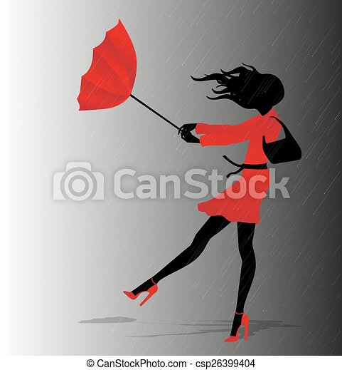 girl with red umbrella - csp26399404