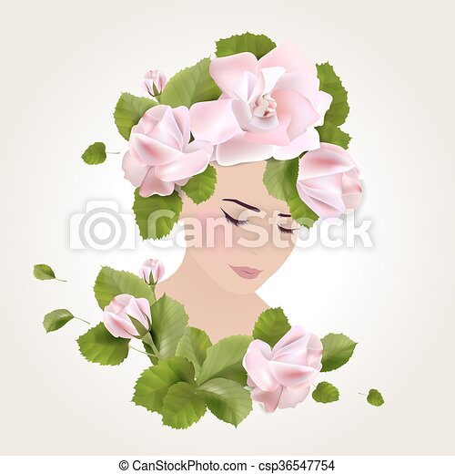 Girl with roses - csp36547754