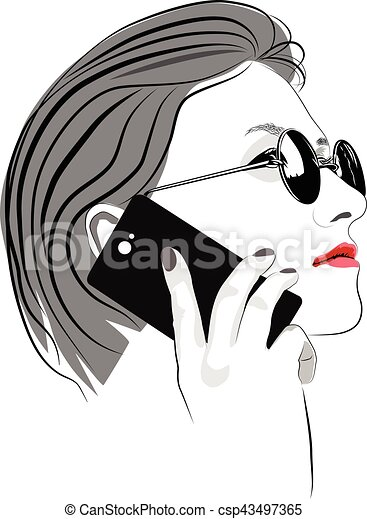 Girl with round sun glasses talking on cell phone - csp43497365