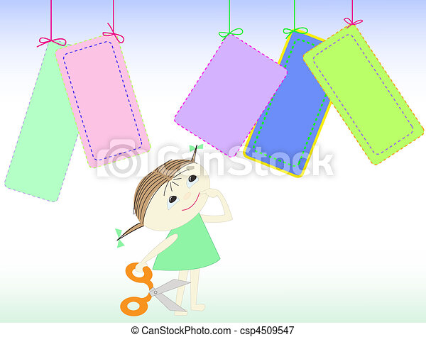girl with scissors - csp4509547