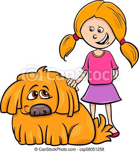 girl with shaggy dog cartoon illustration - csp58051258