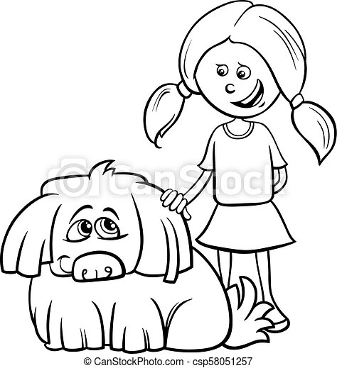girl with shaggy dog cartoon coloring book