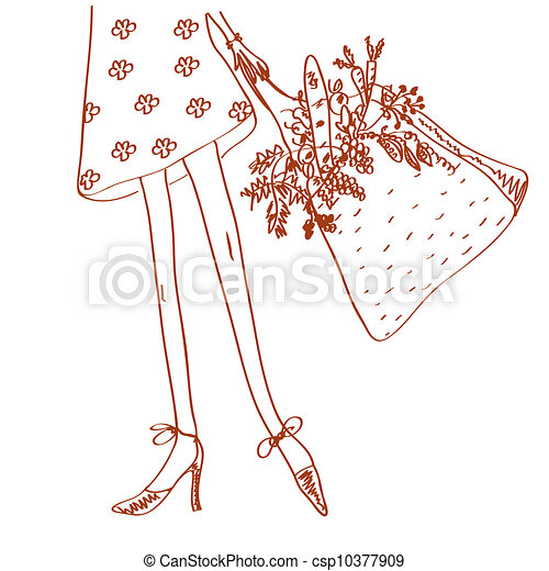 Girl with shopping bag full of fresh vegetables and fruits sketch - csp10377909