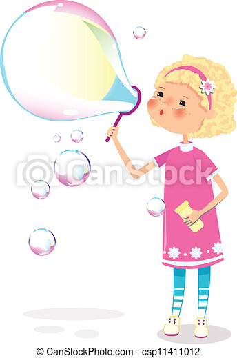 Girl with soap bubbles - csp11411012