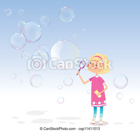 Girl with soap bubbles - csp11411013