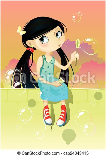 Girl with soap bubbles - csp24043415