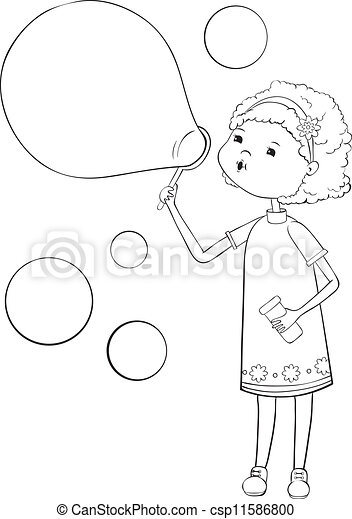 Girl with soap bubbles - csp11586800