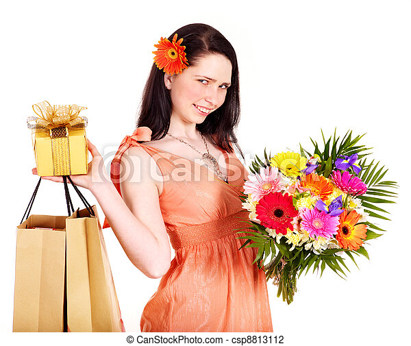 Girl with spring flower, shopping bag and gift box. - csp8813112