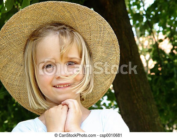 girl with straw hat - csp0010681
