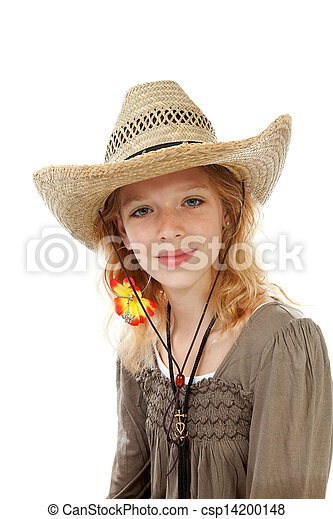 Girl with straw hat - csp14200148