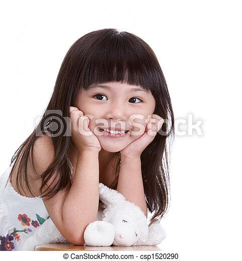 girl with stuffed animal - csp1520290