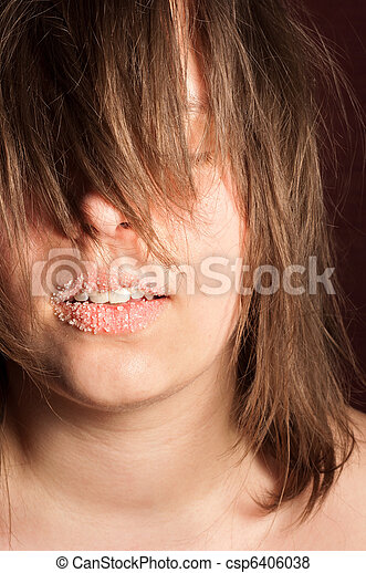 Girl with sugar on her lips - csp6406038