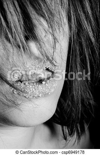 Girl with sugar on her lips - csp6949178