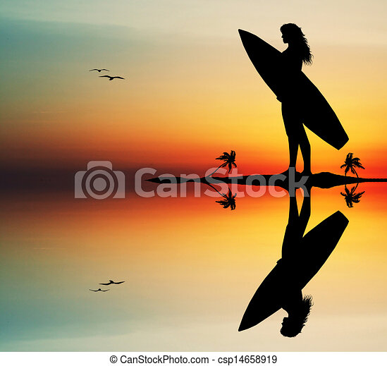 Girl With Surf Surfing At Sunset Clipart Search