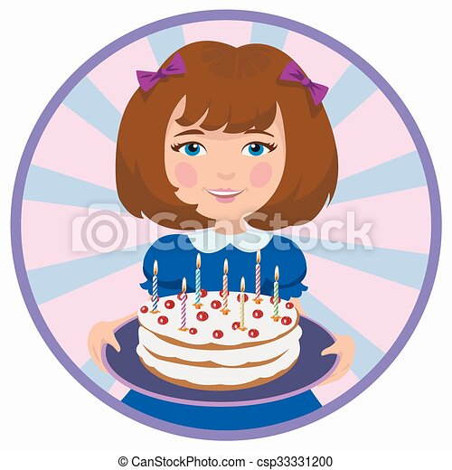 girl with sweet cake - csp33331200