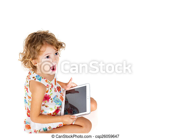 girl with tablet in hand - csp26059647