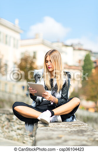 Girl with tablet - csp36104423