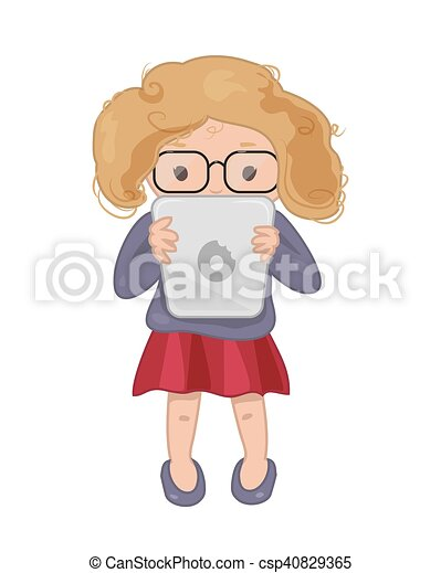 Girl with tablet vector icon. Cute girl with tablet vector ...