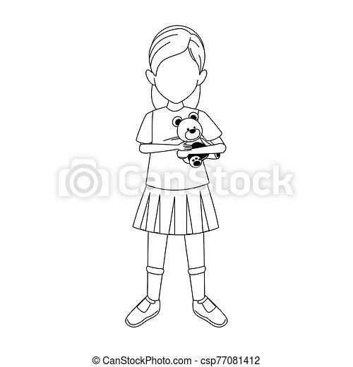 girl with teddy bear icon, flat design - csp77081412