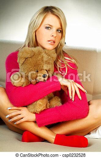Girl with teddy bear - csp0232528