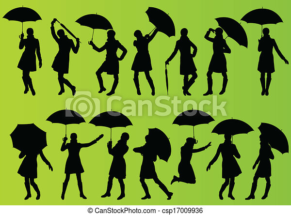 Line Art Umbrella : Girl with umbrella and raincoat in detailed editable vectors