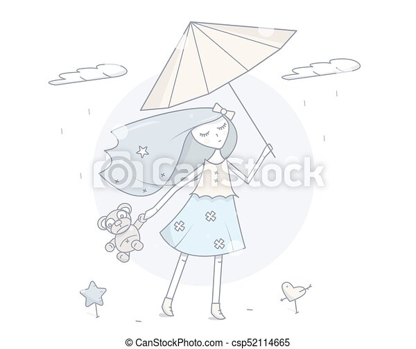 Girl With Umbrella Simple Modern Fashion Design Cartoon Character