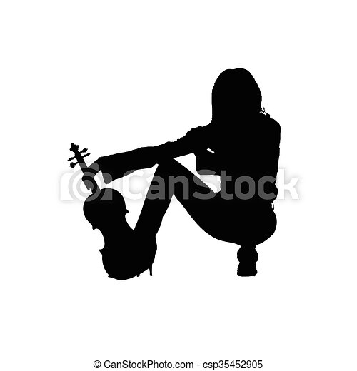 girl with violin illustration silhouette - csp35452905