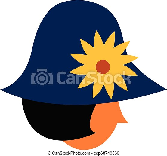 Girl with yellow flower hat vector or color illustration - csp68740560