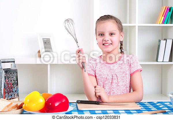 girl working in the kitchen - csp12033831