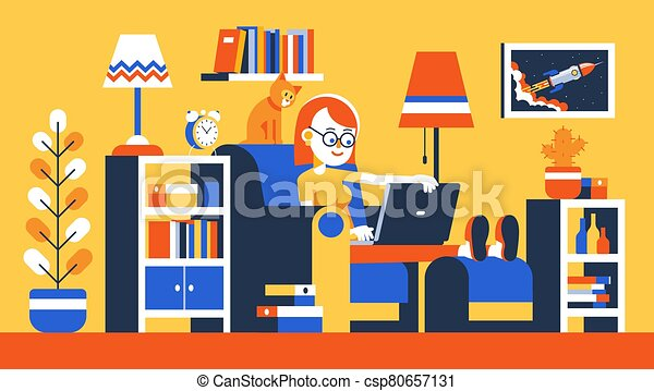 Girl working remotely with laptop on armchair - csp80657131