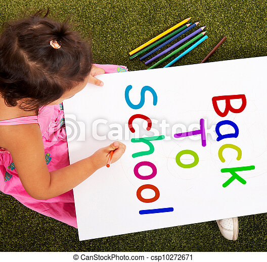 Girl Writing Back To School As Symbol For Education Girl Picture