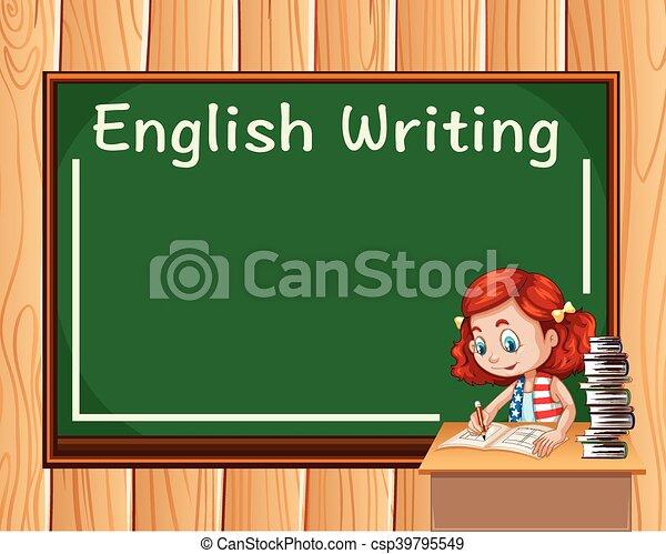 girl writing in english class illustration rh canstockphoto com Book Clip Art Book Clip Art