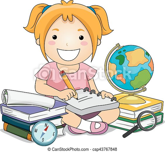 girl writing notes geography illustration of a little girl eps rh canstockphoto com  girl writing in diary clipart
