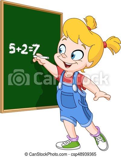 girl writing on blackboard school girl writing with chalk on a rh canstockphoto com girl writing cartoon girl writing cartoon