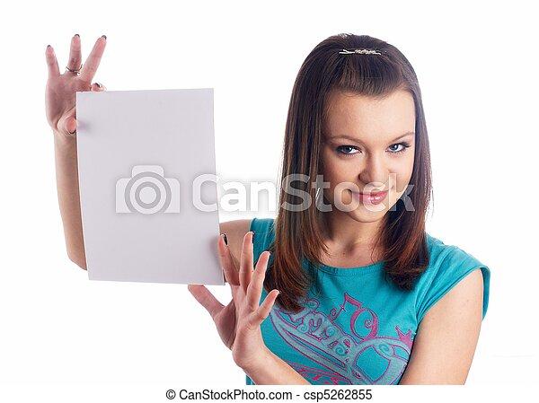 Girl wth blank sheet - csp5262855
