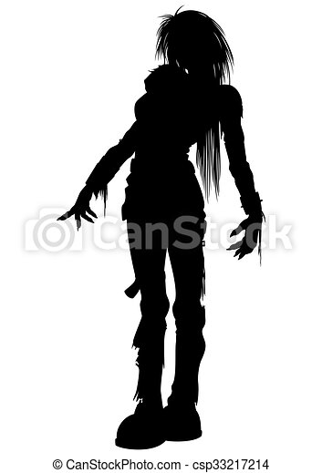 girl zombie silhouette illustration woman zombie with