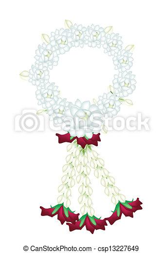 Eine frische weiße Farbe von Jasminblüten - csp13227649