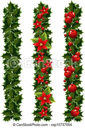 girlanden, stechpalme, weihnachten - csp10737054