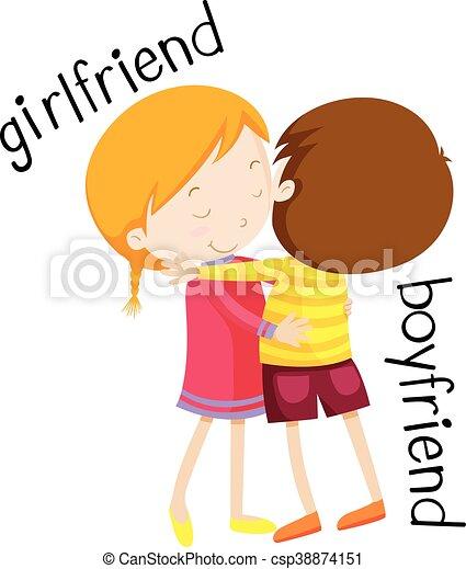 girlfriend and boyfriend hugging illustration
