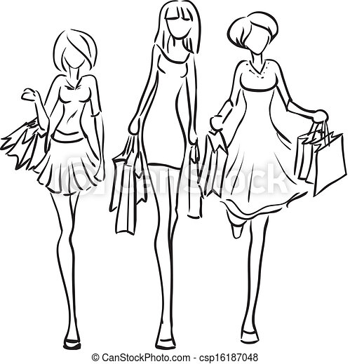 girls going shopping coloring pages | Girlfriends go to the boutique. Vector picture with three ...